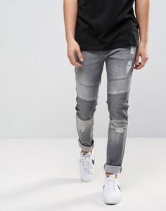 Выбеленные серые байкерские джинсы Loyalty and Faith Blakely - Серый