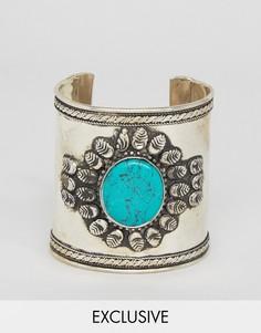 Браслет-манжета с камнем Reclaimed Vintage Inspired - Серебряный