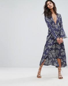 Платье макси с цветочным принтом и запахом Faithful - Мульти