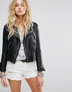 Куртка из веган-кожи с заклепками Free People - Черный