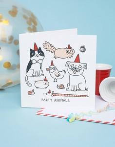 Квадратная поздравительная открытка на день рождения с надписью Party Animals Ohh Deer - Мульти