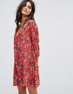 Свободное платье с цветочным принтом BA&SH - Красный Ba&Sh