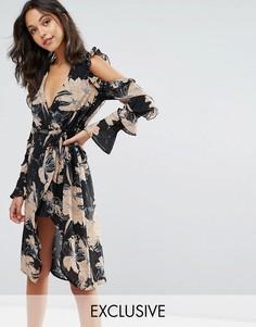Платье миди с цветочным принтом, запахом и вырезами на плечах Missguided - Мульти