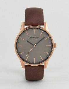 Часы с коричневым кожаным ремешком UNKNOWN Classic - Коричневый