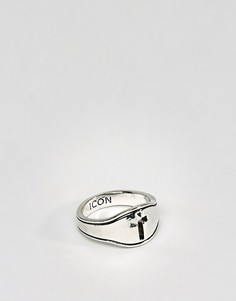 Кольцо-печатка с крестиком Icon Brand - Серебряный