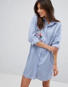 Платье-рубашка с цветочной вышивкой Parisian - Синий