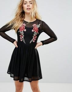Сетчатое платье с вышитыми розами Glamorous - Черный
