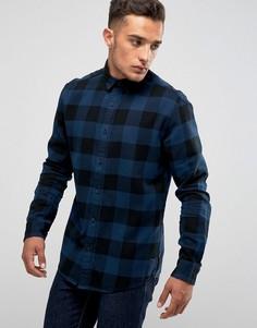 Узкая рубашка в клетку Only & Sons - Темно-синий