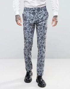 Супероблегающие брюки с цветочным принтом Noose & Monkey Wedding - Синий