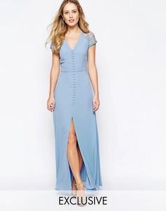 Платье макси с застежкой на пуговицы и кружевной отделкой на плечах Jarlo Lucia - Кремовый