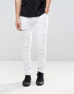 Белые байкерские джинсы скинни с рваной отделкой ASOS - Белый