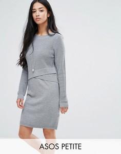 Трикотажное платье с запахом ASOS PETITE - Серый