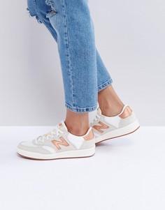 Белые замшевые кроссовки с отделкой медного цвета New Balance 300 Court - Белый