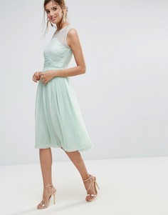 Платье миди с присборенной вставкой ASOS WEDDING - Зеленый