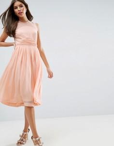 Платье миди с присборенной вставкой ASOS WEDDING - Розовый