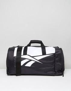 Черно-белая классическая дорожная сумка Reebok - Черный