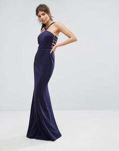 Приталенное платье макси Forever Unique Racer - Синий