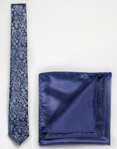 Темно-синие галстук с цветочным принтом и платок для нагрудного кармана Selected - Темно-синий