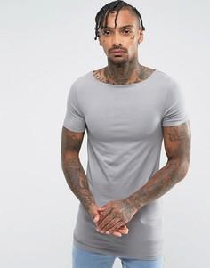 Серая облегающая футболка ASOS - Серый