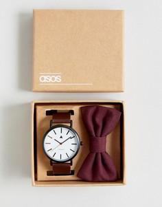 Набор из часов и галстука-бабочки бордового цвета ASOS Wedding - Коричневый