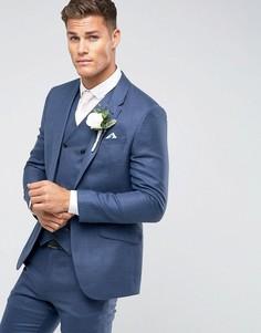 Темно-синий приталенный пиджак с добавлением шелка и льна ASOS Wedding - Темно-синий
