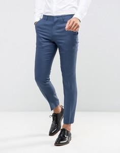 Темно-синие узкие брюки из смеси шелка и льна ASOS Wedding - Темно-синий