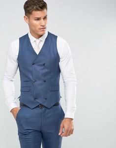 Темно-синий приталенный жилет из смеси шелка и льна ASOS Wedding - Темно-синий