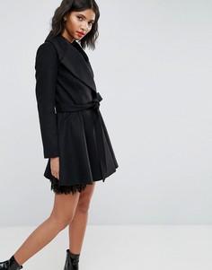 Приталенное пальто с большим воротником и поясом ASOS - Черный