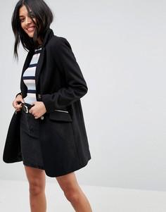 Пальто бойфренда с карманом на молнии ASOS - Черный