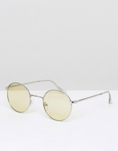 Серебристые круглые солнцезащитные очки с желтыми стеклами ASOS - Желтый