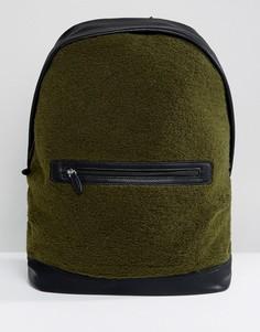Рюкзак из искусственного меха цвета хаки с отделкой из искусственной кожи ASOS - Зеленый