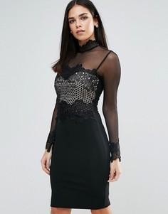 Облегающее платье с декоративной отделкой Lipsy - Черный