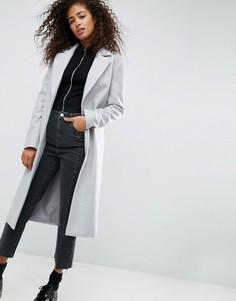 Удлиненное пальто бойфренда ASOS - Серый
