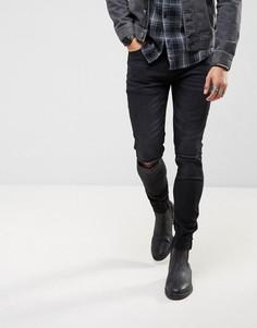 Черные выбеленные джинсы скинни с вышивкой на отворотах Roadies of 66 - Черный