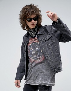 Черная выбеленная джинсовая куртка с рваной отделкой и молниями по бокам Roadies of 66 - Черный