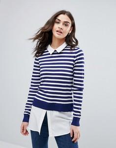 Джемпер с нижним слоем в стиле рубашки QED London - Темно-синий