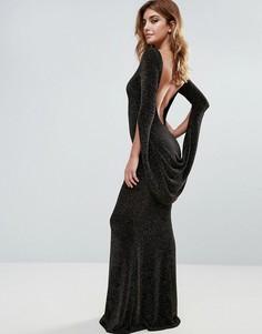 Платье макси с длинными рукавами и открытой спиной City Goddess - Черный