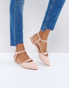Туфли на плоской подошве с острым носком и вырезами Glamorous - Розовый