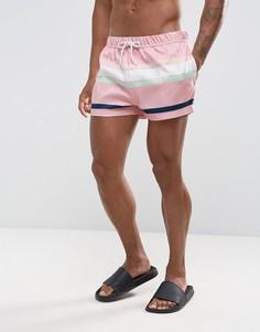 Розовые короткие шорты для плавания с полосками ASOS - Розовый