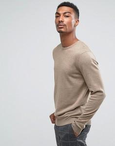 Вязаный джемпер с круглым вырезом из смеси хлопка и шелка Selected Homme - Светло-серый
