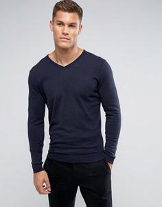 Трикотажный джемпер из шелка и хлопка с V-образным вырезом Selected Homme - Темно-синий