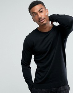 Вязаный джемпер с круглым вырезом из смеси хлопка и шелка Selected Homme - Черный