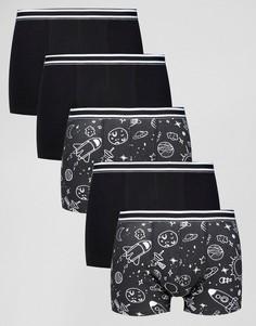 Набор из 5 боксеров-брифов с монохромным принтом ASOS - СКИДКА - Черный