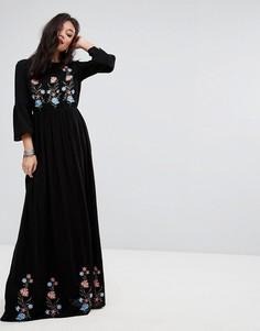 Платье макси с вышивкой Vero Moda - Черный