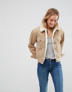 Вельветовая куртка с воротником из искусственного меха ASOS - Светло-серый