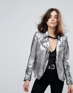 Кожаная куртка металлик Muubaa Monteria - Серебряный