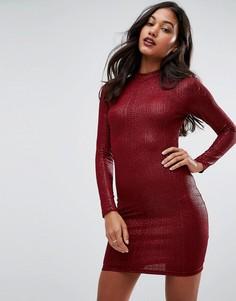 Фактурное облегающее платье с длинными рукавами AX Paris - Мульти