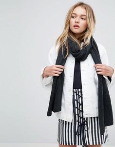 Длинный шарф из тонкого трикотажа с добавлением шерсти ASOS - Серый