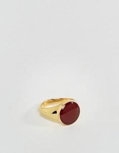 Позолоченное кольцо с печаткой и контрастной красной эмалированной отделкой ASOS - Золотой