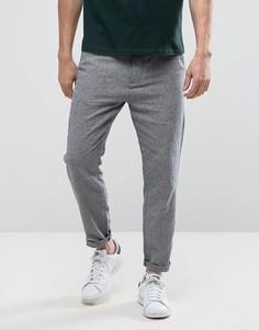 Суженные брюки с добавлением льна Selected Homme - Темно-синий